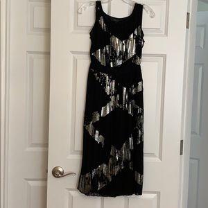 BCBG Maxazria midi black and silver metallic dress